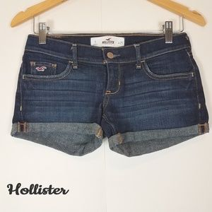 Hollister dark wash distressed jean shorts size 1